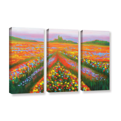 Brushstone Brushstone Floral Landscape 3-pc. Gallery Wrapped Canvas Wall Art