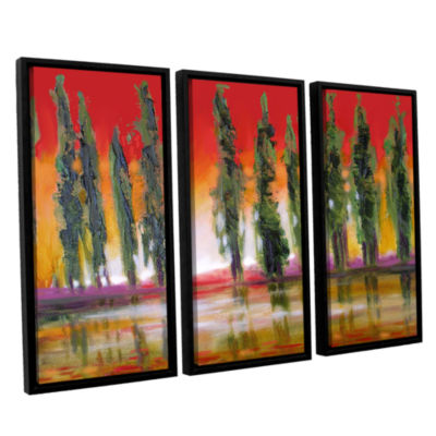 Brushstone Brushstone Tuscan Cypress Sunset 3-pc.Floater Framed Canvas Wall Art