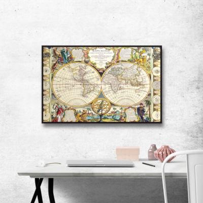 Brushstone Mappe-Monde Carte Universelle de la Terre Dressee Gallery Wrapped Floater-Framed Canvas Wall Art