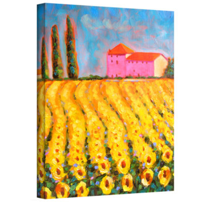 Brushstone Cryress and Sunflowers at Vall De Lot Gallery Wrapped Canvas Wall Art