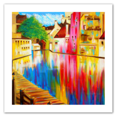 Brushstone River Through Treviso Canvas Wall Art