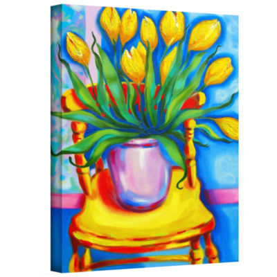Brushstone Yellow Tulips in van Goghs Chair Gallery Wrapped Canvas Wall Art