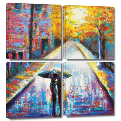 Brushstone Paris Back Street Magic 4-pc. Square Gallery Wrapped Canvas Wall Art