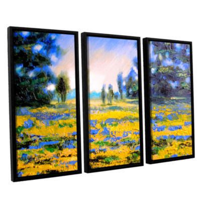 Brushstone Sea of Butter 3-pc. Floater Framed Canvas Wall Art
