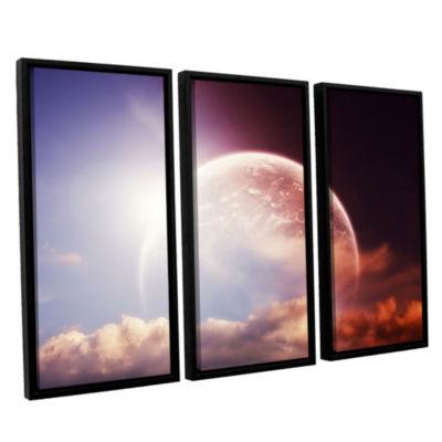 Brushstone Brushstone Light Over Darkness-Russet 3-pc. Floater Framed Canvas Wall Art
