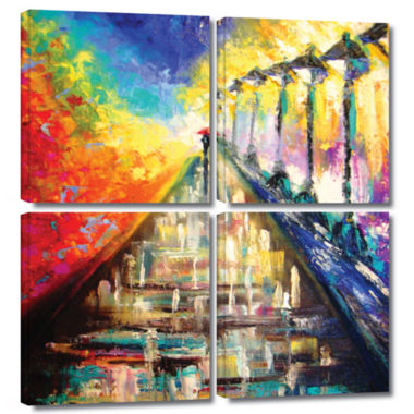 Brushstone Brushstone Rainy Paris Evening 4-pc. Square Gallery Wrapped Canvas Wall Art