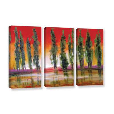 Brushstone Brushstone Tuscan Cypress Sunset 3-pc.Gallery Wrapped Canvas Wall Art