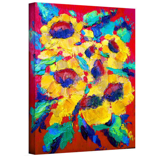 Brushstone Sunflower on Shingel Roof Gallery Wrapped Canvas Wall Art