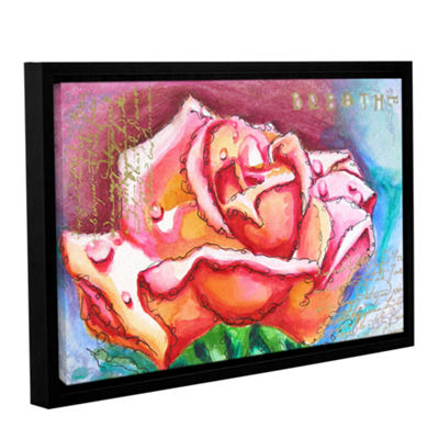Brushstone Pink Rose Dew Gallery Wrapped Framed Canvas Wall Art