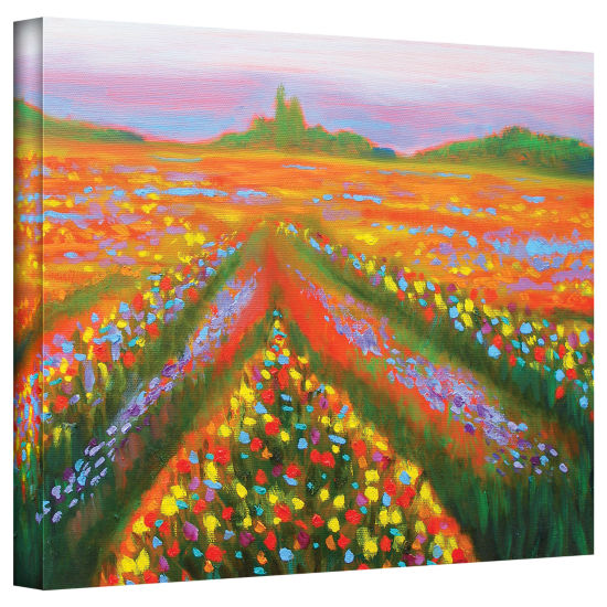 Brushstone Floral Landscape Gallery Wrapped CanvasWall Art