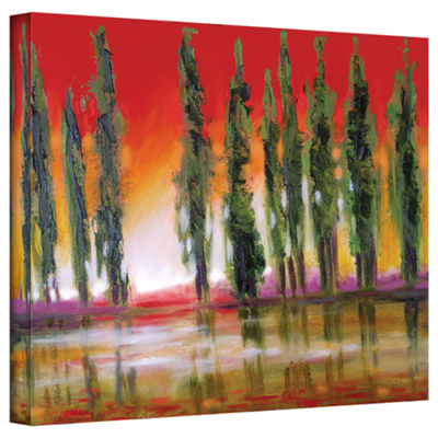 Brushstone Tuscan Cypress Sunset Gallery Wrapped Canvas Wall Art