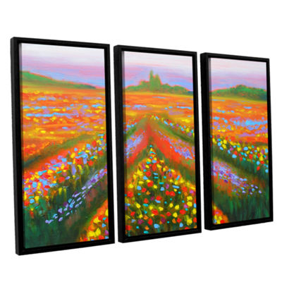 Brushstone Brushstone Floral Landscape 3-pc. Floater Framed Canvas Wall Art