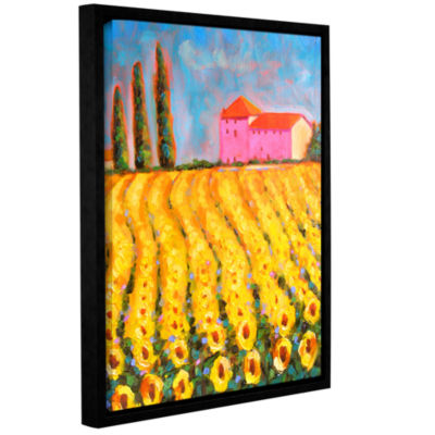 Brushstone Cryress and Sunflowers at Vall De Lot Gallery Wrapped Floater-Framed Canvas Wall Art