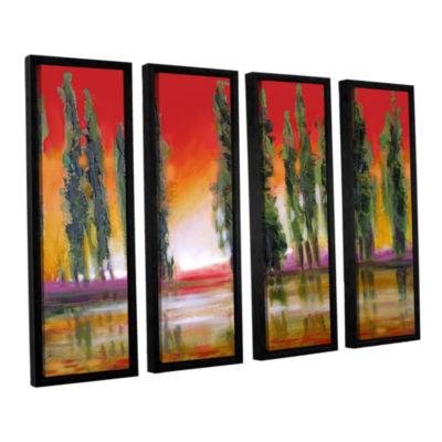Brushstone Brushstone Tuscan Cypress Sunset 4-pc.Floater Framed Canvas Wall Art