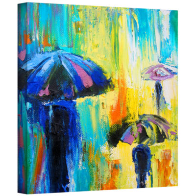 Brushstone Turquiose Rain Gallery Wrapped Canvas Wall Art