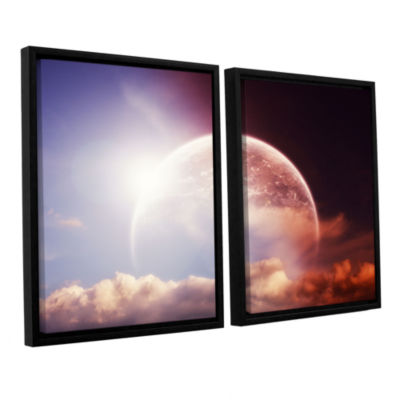 Brushstone Light Over Darkness-Russet 2-pc. Floater Framed Canvas Wall Art
