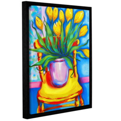 Brushstone Yellow Tulips in van Goghs Chair Gallery Wrapped Floater-Framed Canvas Wall Art