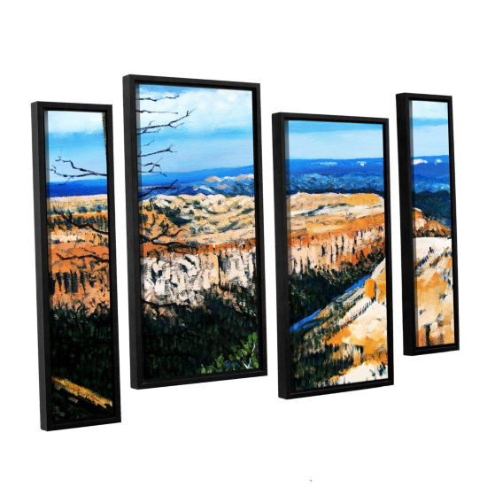 Brushstone Brushstone Mountain Tops Blue Sky 4-pc.Floater Framed Staggered Canvas Wall Art