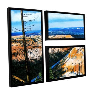 Brushstone Brushstone Mountain Tops Blue Sky 3-pc.Floater Framed Canvas Wall Art