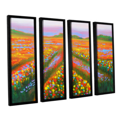 Brushstone Floral Landscape 4-pc. Floater Framed Canvas Wall Art