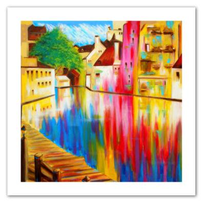 Brushstone River Through Treviso Canvas Wall Art