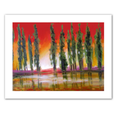 Brushstone Tuscan Cypress Sunset Canvas Wall Art