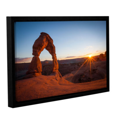 Brushstone Delicate Arch With Sunburst Gallery Wrapped Floater-Framed Canvas Wall Art