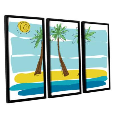 Brushstone Day Palms I 3-pc. Floater Framed CanvasWall Art