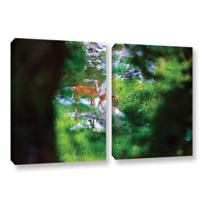 Brushstone Deer 2-pc. Gallery Wrapped Canvas WallArt