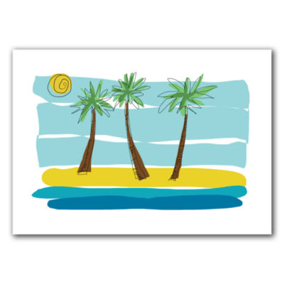 Brushstone Day Palms I Canvas Wall Art