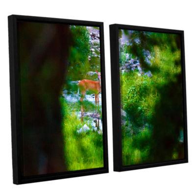 Brushstone Deer 2-pc. Floater Framed Canvas Wall Art