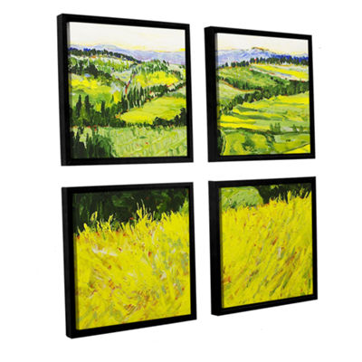 Brushstone Deep Valley 4-pc. Square Floater FramedCanvas Wall Art