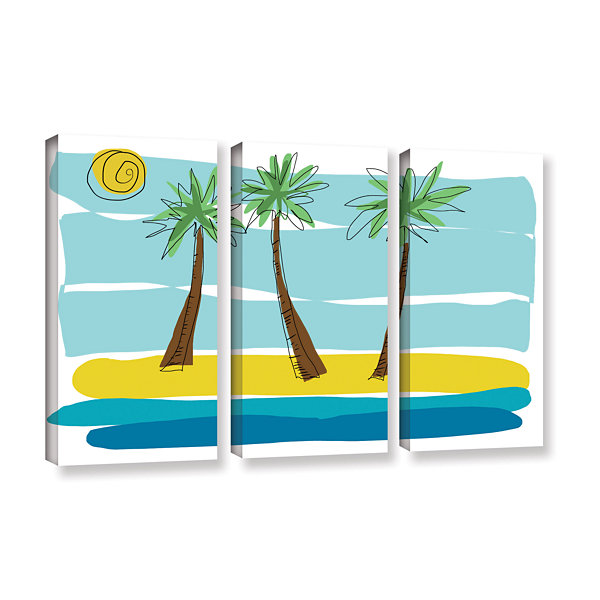 Brushstone Brushstone Day Palms I 3-pc. Gallery Wrapped Canvas Wall Art