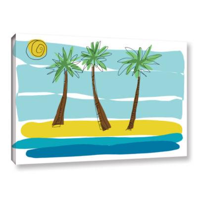 Brushstone Day Palms I Canvas Art