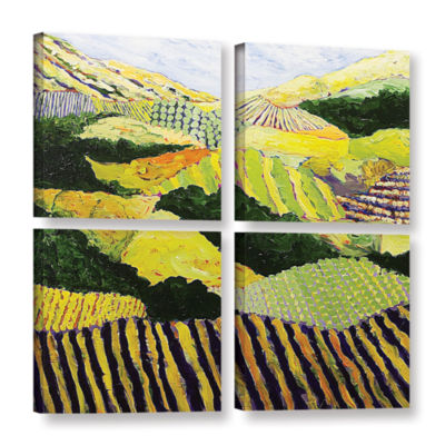 Brushstone Delta Fields 4-pc. Square Gallery Wrapped Canvas Wall Art
