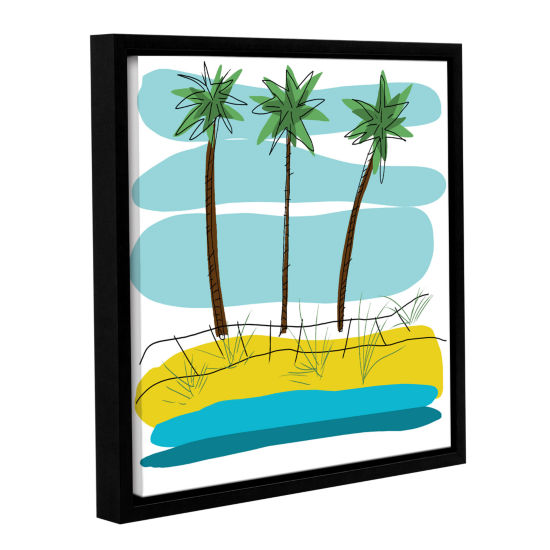 Brushstone Day Palms II Gallery Wrapped Floater-Framed Canvas Wall Art