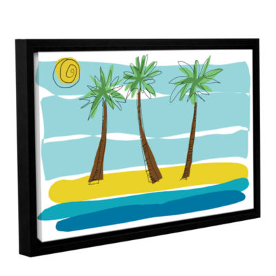 Brushstone Day Palms I Gallery Wrapped Floater-Framed Canvas Wall Art