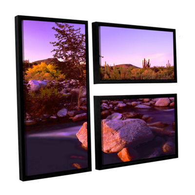 Brushstone Deer Creek Evening 3-pc. Flag Floater Framed Canvas Wall Art