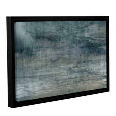 Brushstone Cyan Sea Gallery Wrapped Floater-FramedCanvas Wall Art