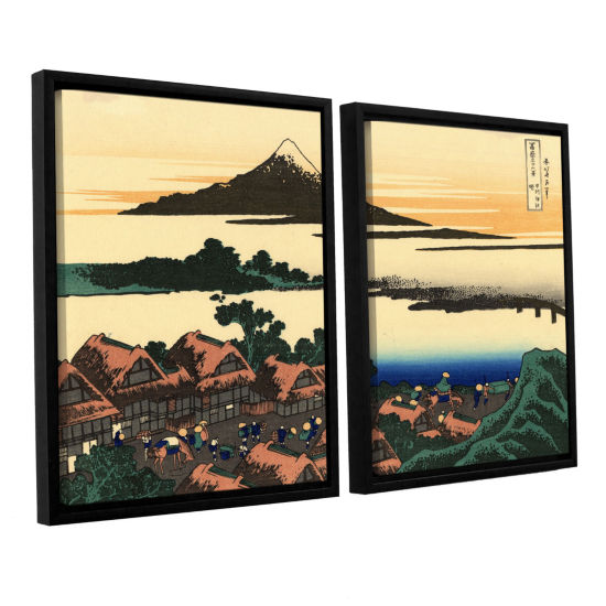 Brushstone Dawn At Isawa In The Kai Province 2-pc.Floater Framed Canvas Wall Art