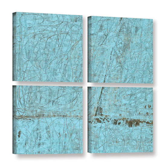 Brushstone Cyan Swirl 4-pc. Square Gallery WrappedCanvas Wall Art