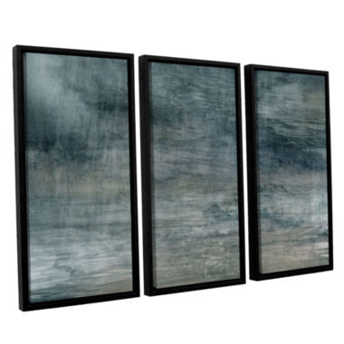 Brushstone Cyan Sea 3-pc. Floater Framed Canvas Wall Art