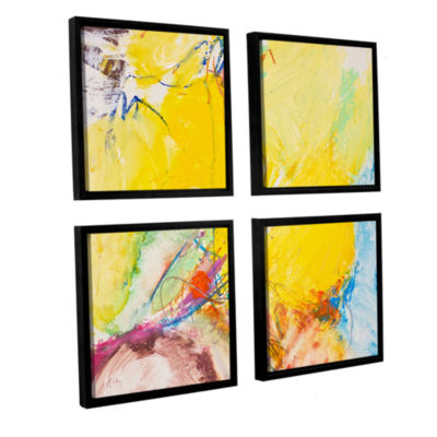 Brushstone Crystal 4-pc. Square Floater Framed Canvas Wall Art