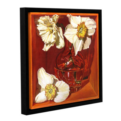 Brushstone Creamy Trumpets Of Spring Gallery Wrapped Floater-Framed Canvas Wall Art
