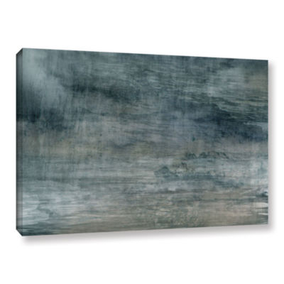 Brushstone Cyan Sea Gallery Wrapped Canvas Wall Art