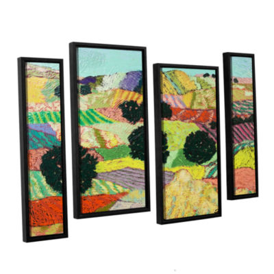 Brushstone Crystal Mountain 4-pc. Floater Framed Staggered Canvas Wall Art