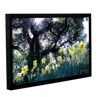 Brushstone Daffodils And The Oak Gallery Wrapped Floater-Framed Canvas Wall Art