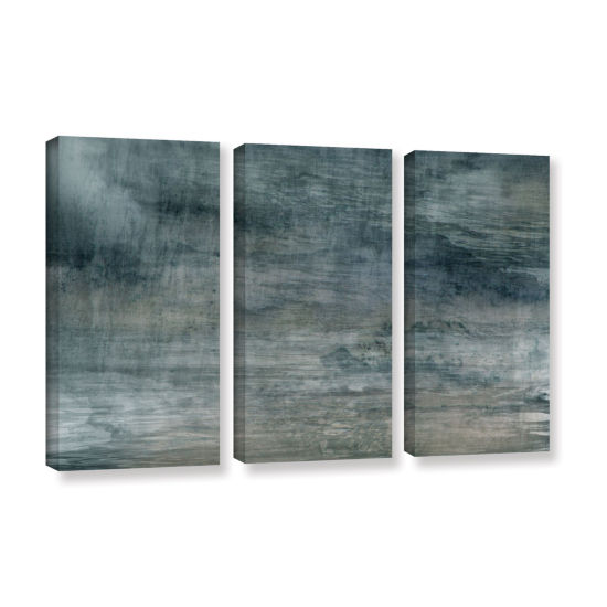 Brushstone Cyan Sea 3-pc. Gallery Wrapped Canvas Wall Art