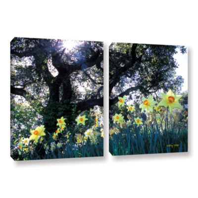 Brushstone Daffodils And The Oak 2-pc. Gallery Wrapped Canvas Wall Art