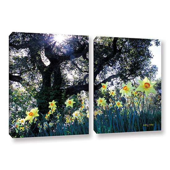 Brushstone Daffodils And The Oak 2 Pc Gallery Wrapped Canvas Wall Art